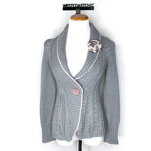 Anthropologie Sparrow Gray Open Knit Cardigan